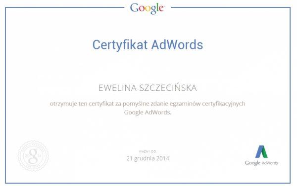 Certyfikat Google Adwords