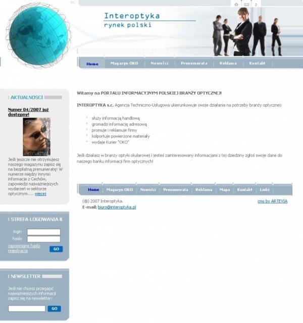 Projekt serwisu Interoptyka