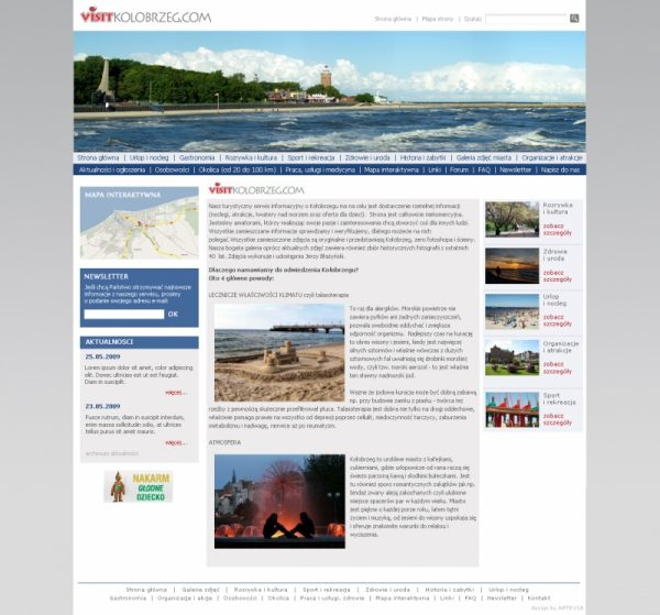 Projekt strony visitkolobrzeg