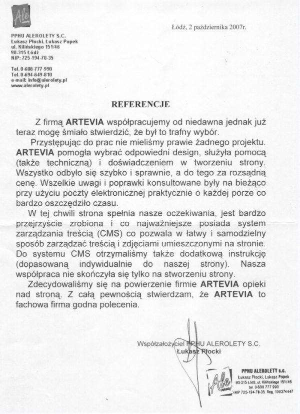 Referencje Artevia PHU Alerolety