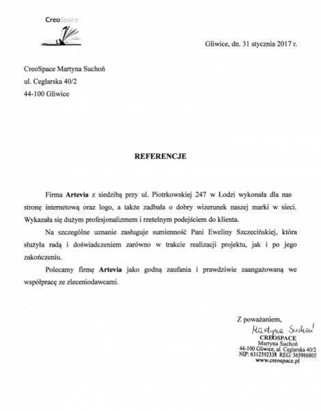 Referencje Artevia od Creospace
