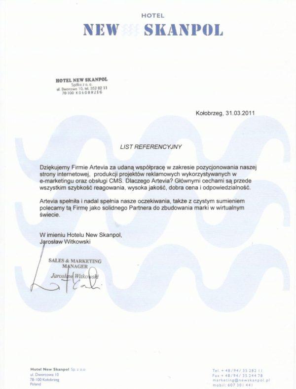 Referencje Artevia od New Skanpol