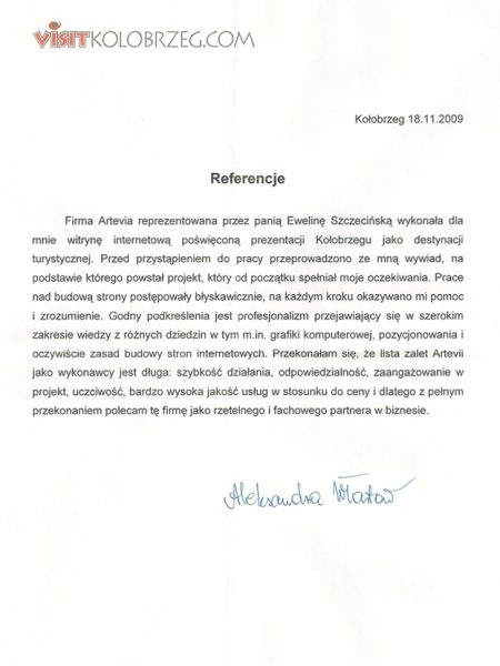 Referencje Artevia od Visitkolobrzeg